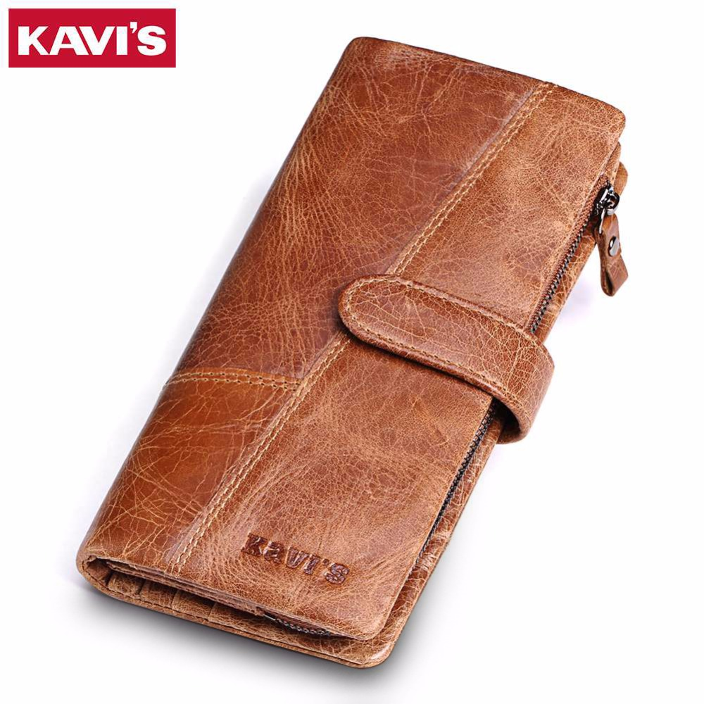 KAVIS 2018 New Designer Men Leather Wallets Casual Male Wallet Clutch Bag Brand Long Wallet Genuine Leather Brand Wallet For Men