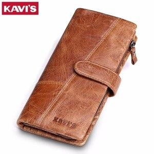 Image 1 - KAVIS 2020 New Designer Men Leather Wallets Casual Male Wallet Clutch Bag Brand Long Wallet Genuine Leather Brand Wallet For Men