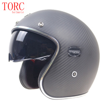Extra light weight Carbonfiber motor helmet 3/4 open face With Controllable internal sunglasses 950g only