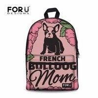 FORUDESIGNS School Backpack for Boy French Bulldog Printing School Bags Children Backpacks Schoolbag Satchel for Teenage Mochila