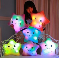 1 Pcs Lovely Cute Luminous Pillow Christmas Toy Led Light Plush Pillows Colorful Stars Kids Toys