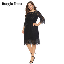 Bonnie Thea plus size women dress Autumn and summer black lace dresses sexy midi party evening Big Size bodycon