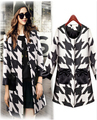 2015 new Autumn Windbreaker coats long section of black and white houndstooth trench coat for women