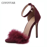 COVOYYAR 2019 Cute Fur Women High Heels Sexy Extremely High Heel Ankle Wrap Buckle Pumps Thin Heel Wedding Shoes WHH566