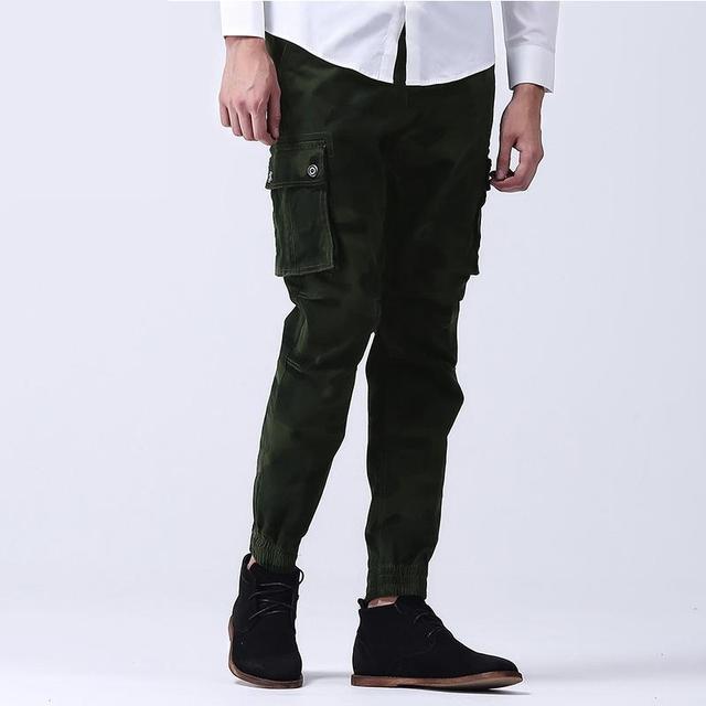 Pantalones de camuflaje de La Moda Verde Del Ejército Pantalones Cargo Ocasionales de Múltiples Bolsillos de Pantalones Para Hombre (con Correas) Ropa de la marca Para Hombre Joggers
