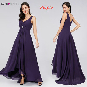 Image 2 - Long Evening Dresses Ever Pretty Plus Size EP09983BK Double V Neck Rhinestones High Low Weddings Events Special Occasion Dresses
