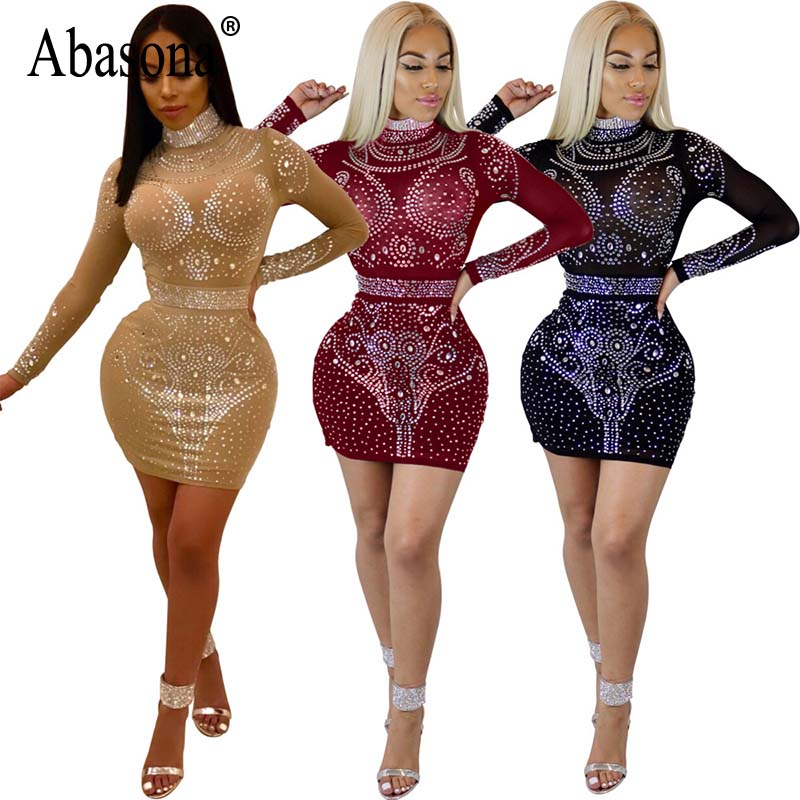 2d5ff38c584 Abasona Spring Women Rhinestone Dresses Sexy Party Club Sparkle Dress Long  Sleeve Hollow Out Bodycon Pencil Mesh Dress-in Dresses from Women's  Clothing on ...