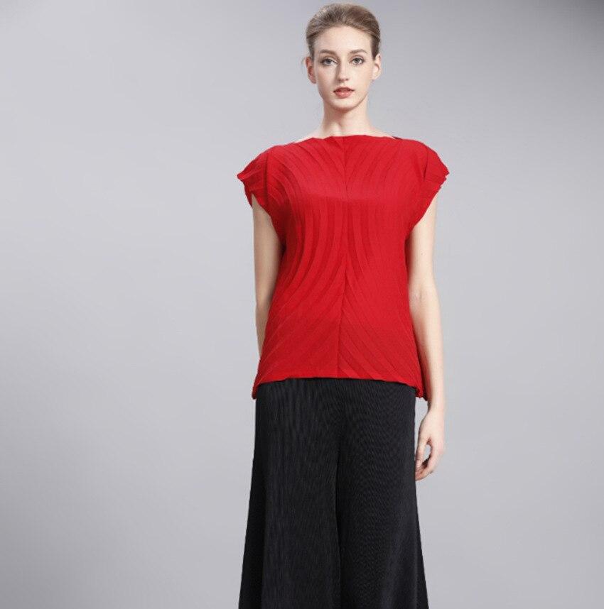2018 nouveauté femmes plissée mode été manches courtes solide couleur élastique col rond Blouses chemises
