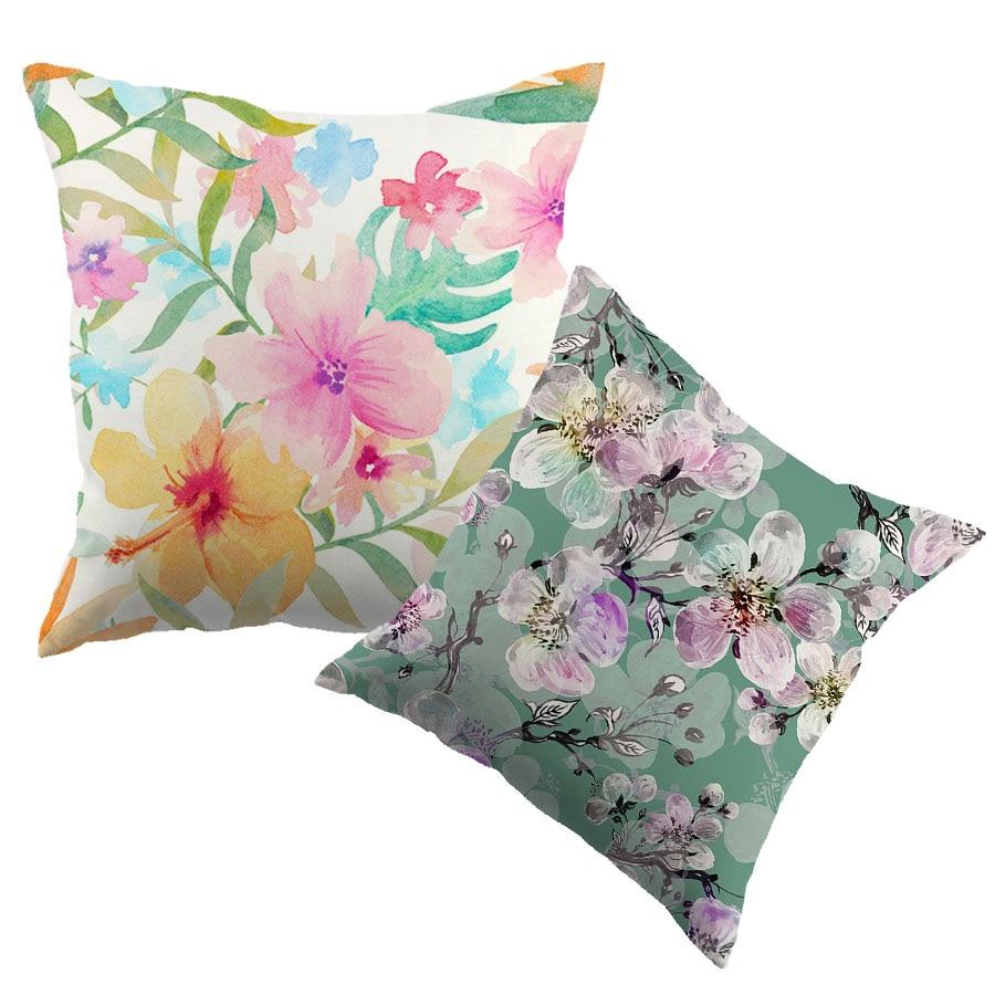 Peinture à l'huile fleur motif coton housse de coussin aquarelle peinture fleur Liene taie d'oreiller Textiles jeter housse de coussin