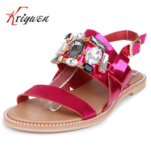 Big size 32-43 summer beach shoes luxury rhinestone hot flats shoes solid 100% real leather cowhide girls' women party sandals
