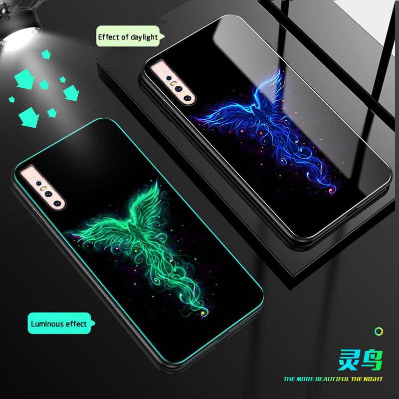 Luminous Glass phone <font><b>Case</b></font> For <font><b>VIVO</b></font> S1 V15 Pro <font><b>Y3</b></font> Y17 Y19 Y97 Y95 NEX 3 Z1 Z5 Z5X U3 back cover For iqoo neo X27 Pro S5 V17 <font><b>Case</b></font> image