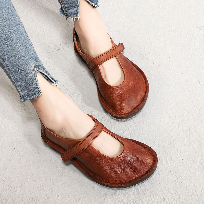 2019 New Spring Shoes Women Flats Genuine Leather Round Toes Mary Jane Ladies Flat Shoes Comfortable Soft Female Shoes Brown