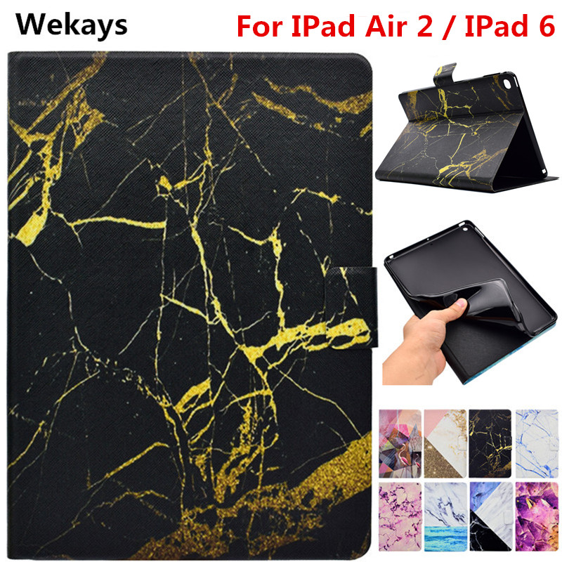 Wekays Tablet Case For Apple IPad Air 2 IPad 6 Marble Leather Smart Flip Funda Case For Coque IPad Air 2 IPad6 Tablet Cover Case nice soft silicone back magnetic smart pu leather case for apple 2017 ipad air 1 cover new slim thin flip tpu protective case