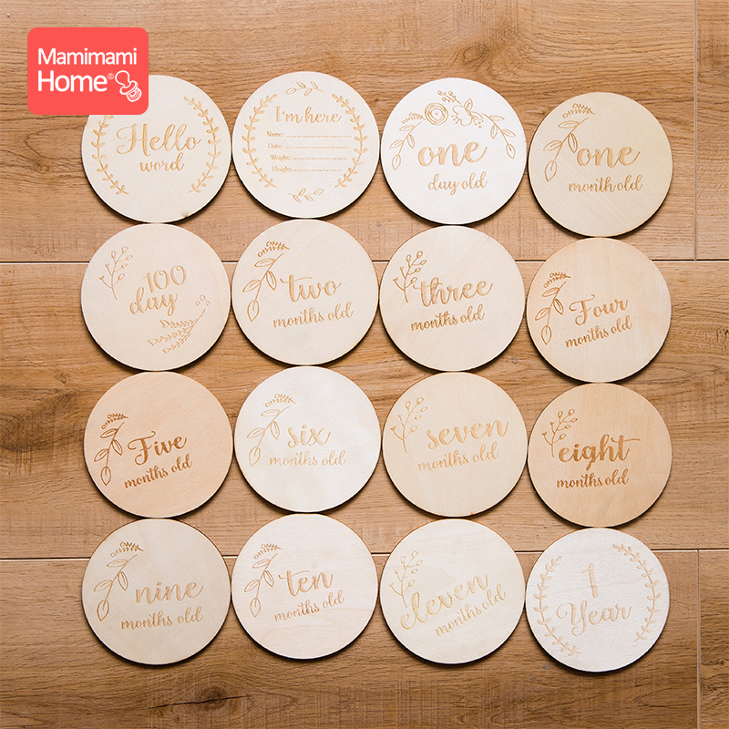 Mamihome 16pc Baby Wooden Teether Newborn Milestone Card Personalized Customization Chewing Chips Wooden Blank Children'S Goods