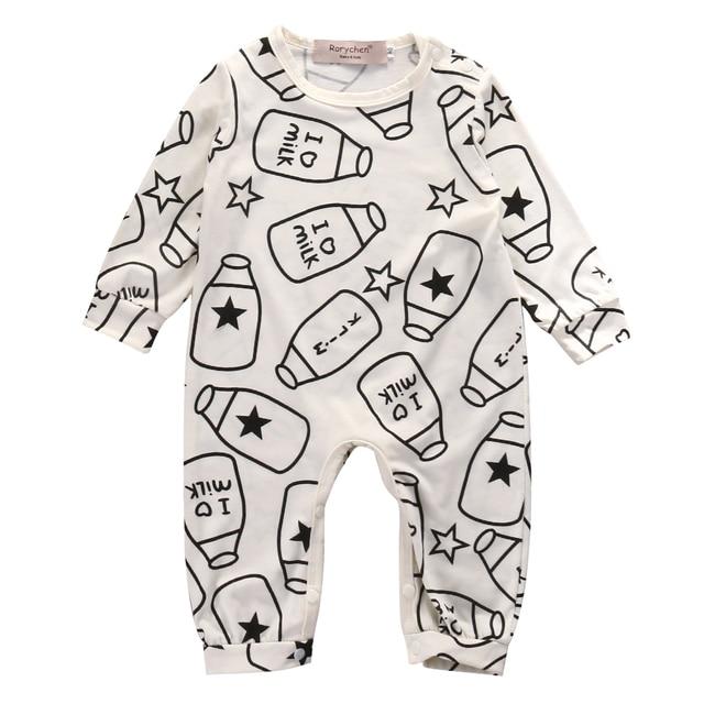 fb371a2be Top Baby Kids Boy Girl Infant Long Sleeve Romper Milk bottle ...
