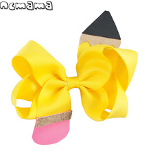 6 Colors 3.5 Girls Headwear Patchwork Pencil Grosgrain Ribbon Hairbow With Clip Handmade Hair Bows Kids Head Accessories