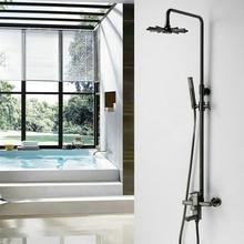 Bathroom Oil Paint Black Shower Set Wall Mounted 8 Round / Sun Flower Rainfall Mixer Tap Faucet 3-functions Valve