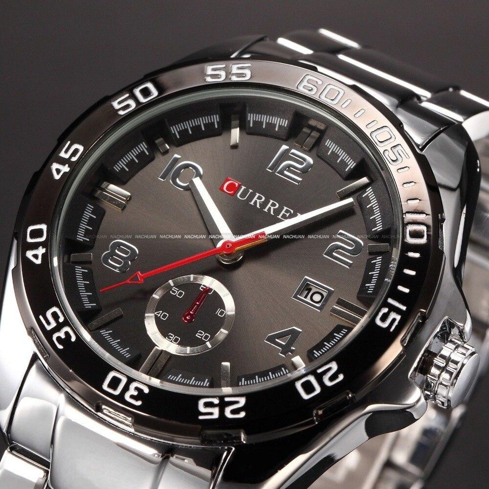 все цены на  relogio masculino 2016 Curren saat kol erkek Quartz Watches Men Luxury Brand Sport Watch horloges mannen Full Steel Men Watch  в интернете