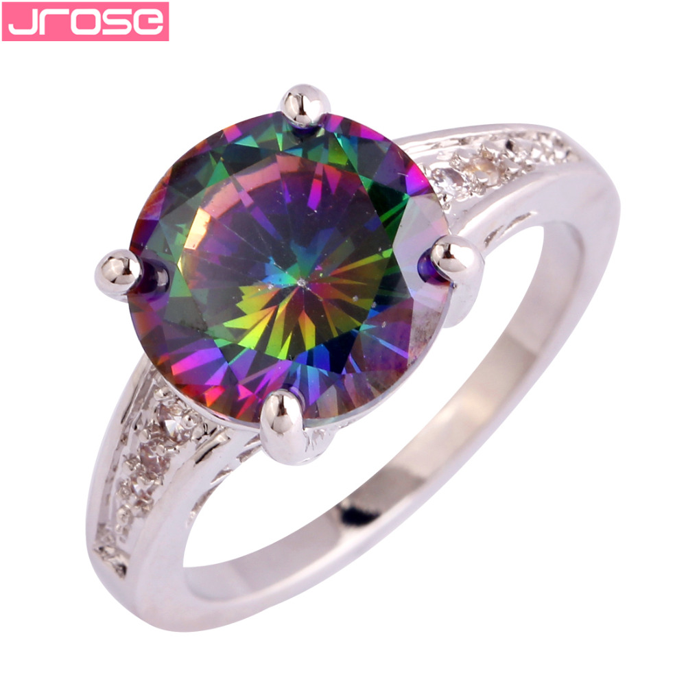 JROSE Wedding Engagement Fashion Round Cut Rainbow & White CZ Silver Color Ring Size 6 7 8 9 10 11 12 13 For Women Beauty Mystic