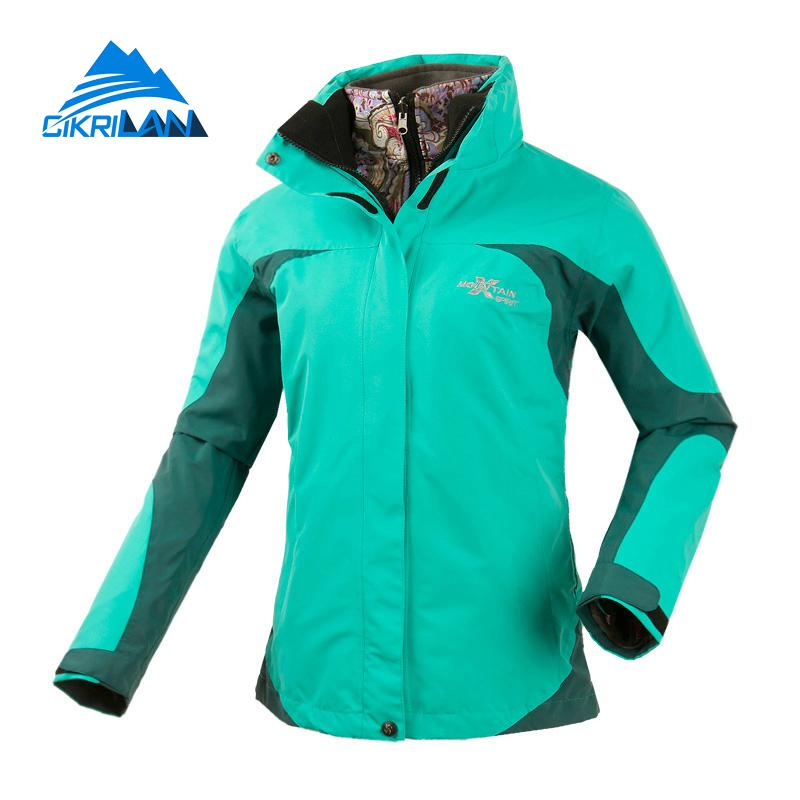 2in1 Hot Ladies Water Resistant Camping Fishing Coat Thermal Climbing Hiking Outdoor Jacket Women Ski Trekking Warm Jackets