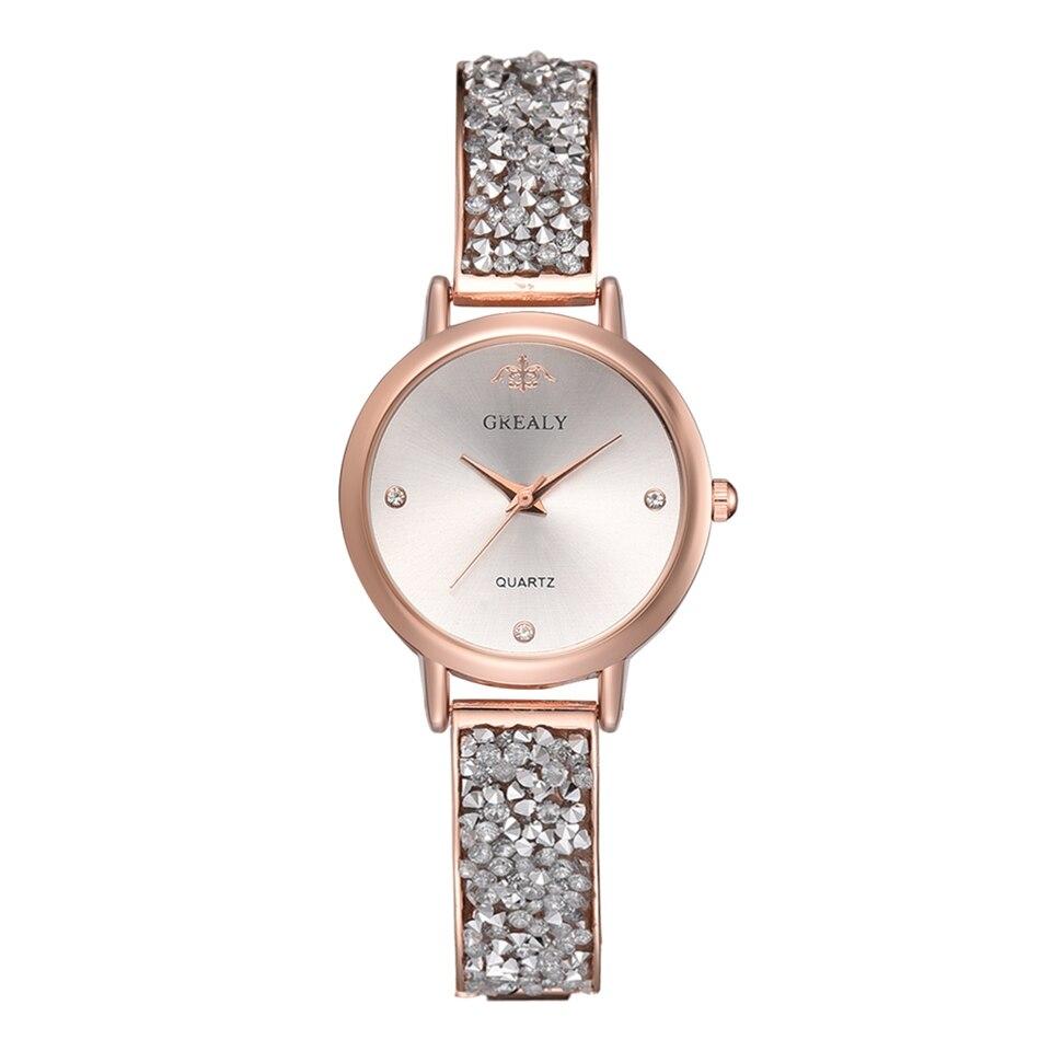 Luxury Ladies Crystal Stainless Steel Watch Waterproof Rose Gold Silver Bracelet Quartz Women Watches Clock Relogio Feminino