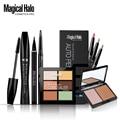 Magical halo lápiz de cejas + mascara + 12 colores lápiz delineador de ojos + doble Color de Polvos bronceadores 6 Colores Concealer Del Maquillaje Set