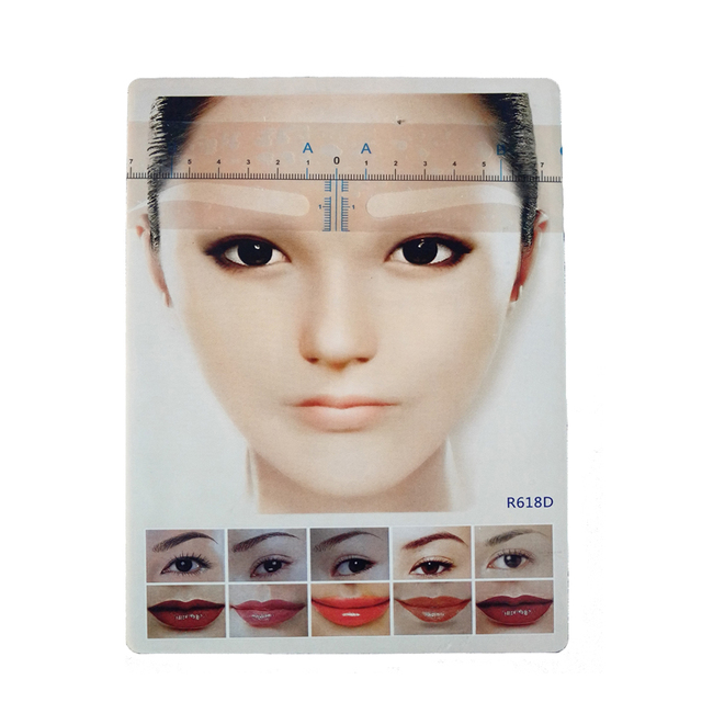 100pc Disposable Microblading Eyebrow Ruler Sticker Permanent Makeup Accessories Supplies Eyebrow Stencil Tattoo Measure Tools 2