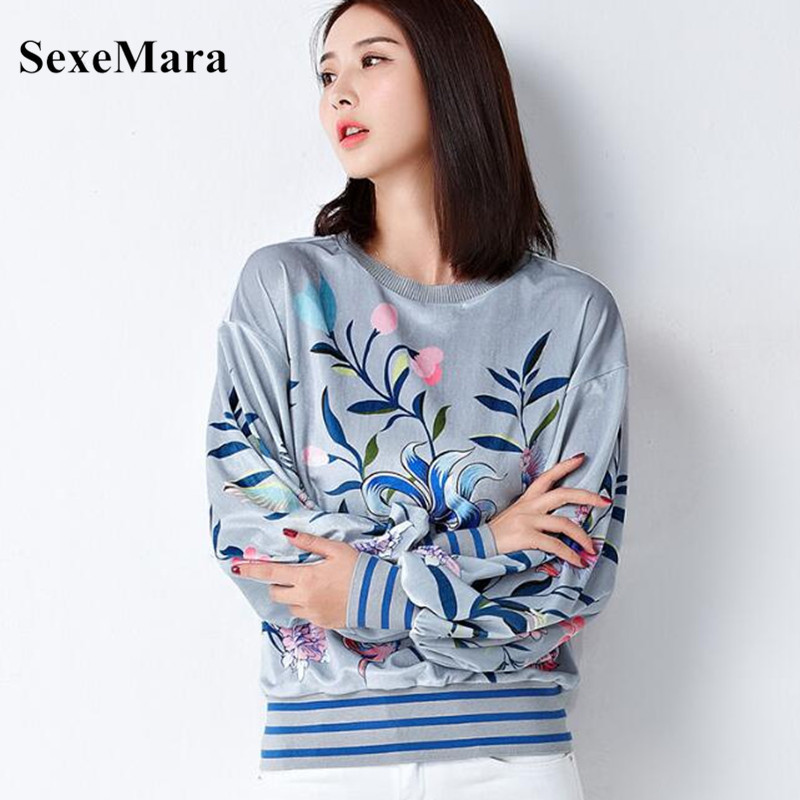 SexeMara 2018 Autumn New Temperament Women's Shirt nine Tail Printed Iantern Sleeves Iong Sleeve Women's Clothing