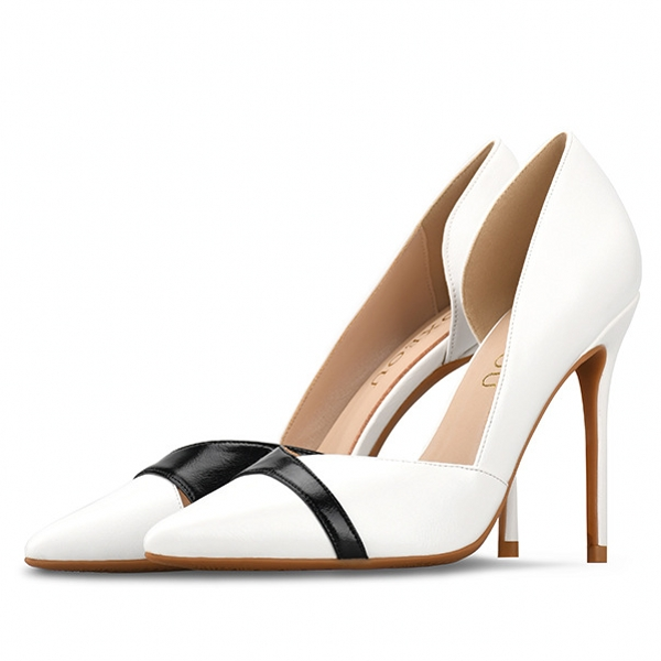 2019 Women Shoes High Heels Sexy Pointed Toe Slip on Wedding Office Split Leather Handmade Plus Size 34 46 Pumps H0017 in Women 39 s Pumps from Shoes