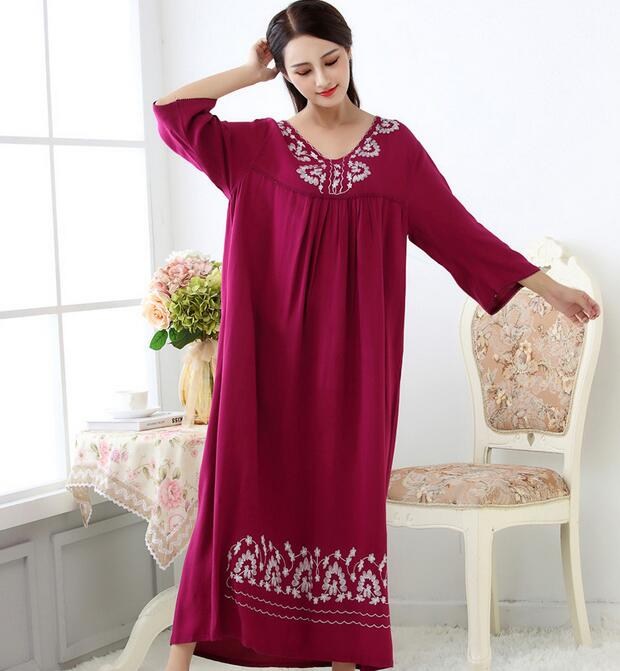 Women Long Loose Casual Bourette Sleepwear Soft Night Dress Pajamas Women's Night Gowns Robes RB313