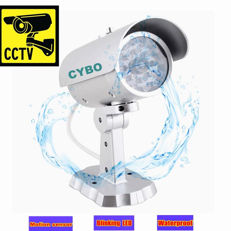 wireless fake dummy security camera ir led bullet ourdoor motion detection human sensor cctv surveillance fake camera sticker