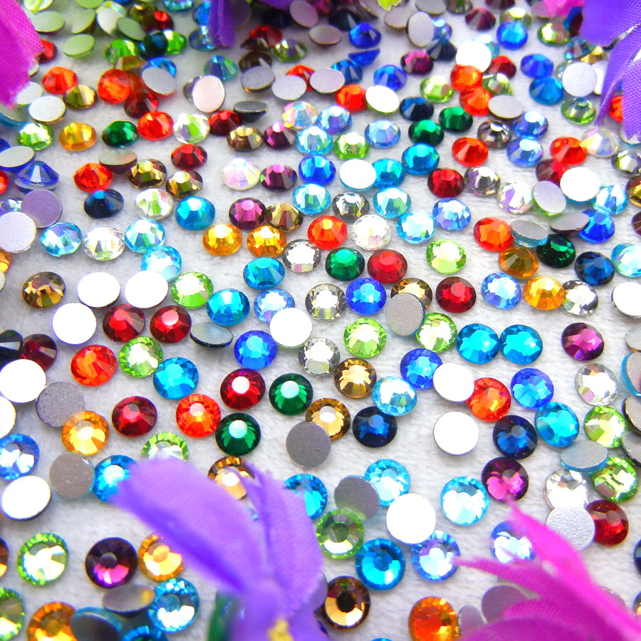 Glass Crystal 10 Veličine SS3-SS30 Nonhotfix Fancy boje Okrugli oblik Flatback kamenčići Ljepilo na perlama nailart handicraf diy
