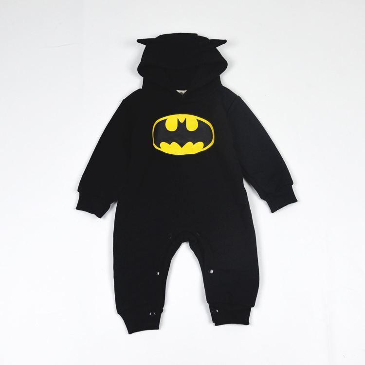 92806458b Character Batman Kids Baby Boys Autumn Spring Hooded Rompers Infant ...