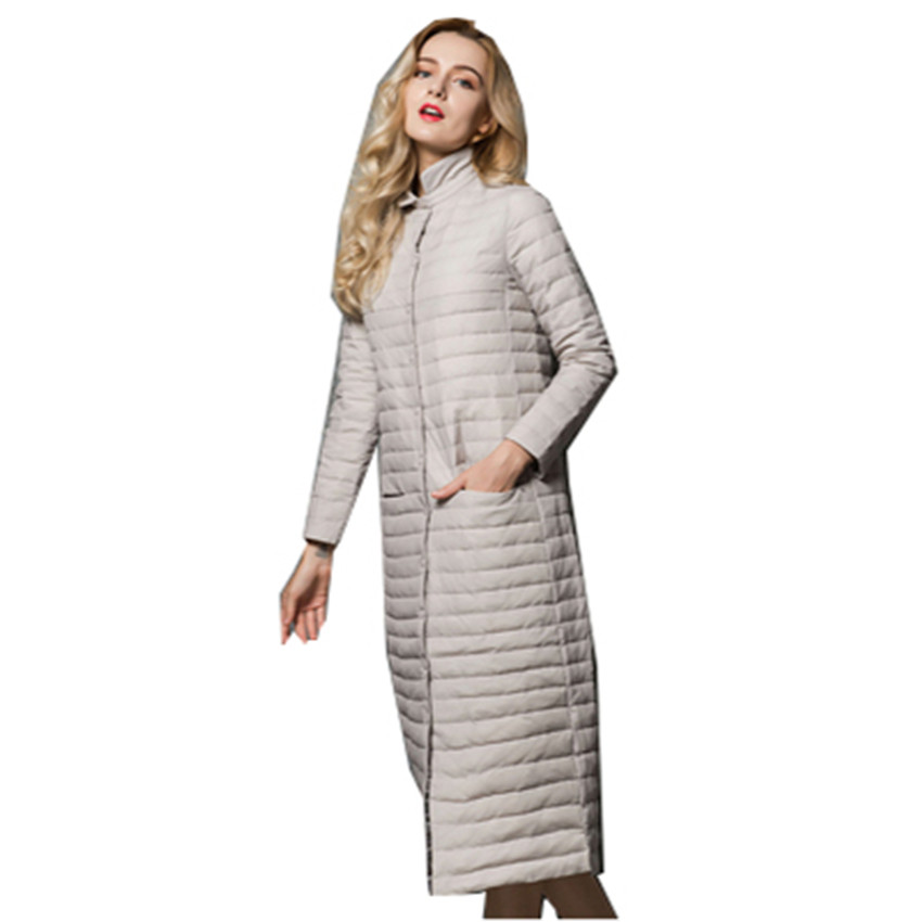 2018 New Autumn Elegant Women Long White Duck   Down   Jacket Big Size Thin   Down   Jacket Lady   Down     Coats   Female Winter Jackets W490