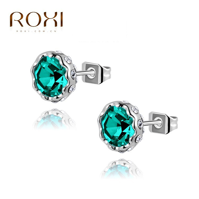 ROXI Brand Brincos Party Ear Stud Earrings White Gold Color Women Earrings Wedding Crystal CZ Jewelry Bridal Earring Accessories