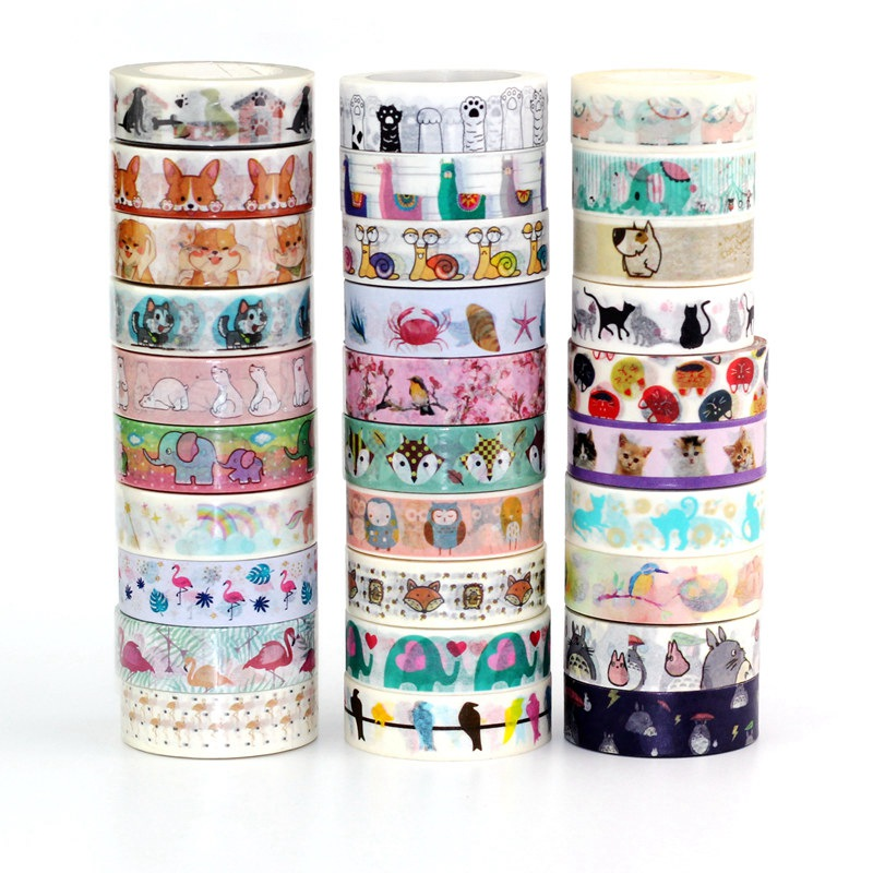 15mmx10m Decor Washi Tape Animal Set Llamas Dog Cat Flamingo Elephant Polar Bear Birds DIY Masking Tapes School Office Supplies