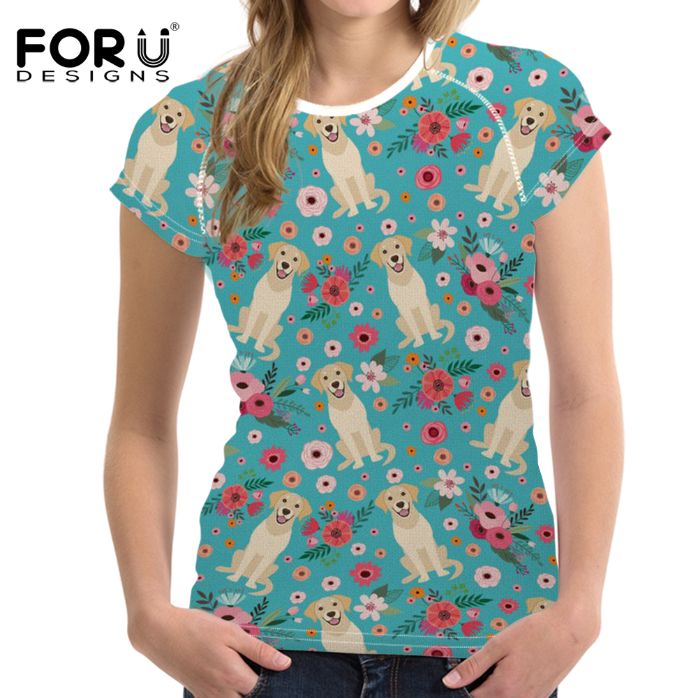 FORUDESIGNS Golden Retriever Flower Printing T Shirt Women Funny Puppy T-shirt Teenagers Fashion Tops for Girl Kawaii Tee Female