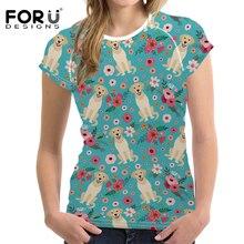 FORUDESIGNS Golden Retriever Flower Printing T Shirt Women Funny Puppy T-shirt Teenagers Fashion Tops for Girl Kawaii Tee Female