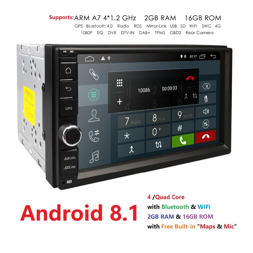 2 г оперативная память Android 8,1 авто радио 4 ядра 7 дюймов 2DIN универсальный автомобильный нет DVD плеер gps стерео головное устройство аудиосистем...