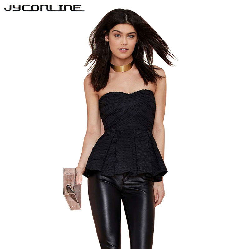 JYConline 2017 Summer Tube Top Sexy Women Strapless Crop Top Party Club Bandage Women Tank Tops Off Shoulder T-shirts For Women