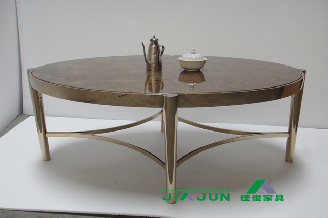 After The Neoclical Rose Gold Stainless Steel Oval Coffee Table Marble Modern Furniture Custom