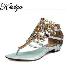 Hot sale ! Big Size 34-43 Fashion summer style Genuine leather women flats Diamond decoration thong Gladiator sandals QM-705