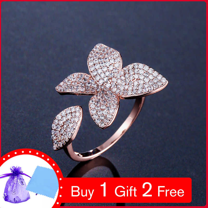 UILZ Fashion Big Leaf Rings With CZ Pave Setting Flower Design Open Adjustable Jewelry  For Party Accessories UR2034