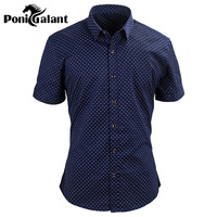 PoniGalant Letter M Cotton Casual Mens Shirt Slim Fit High Quality Men Clothes Imported Clothing Plus