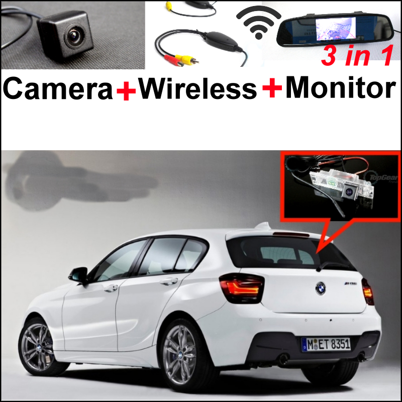 3in1 Special WiFi Camera + Wireless Receiver + Mirror Monitor Easy DIY Rear View BackUp Parking System For BMW 1 M1 F20 F21 wireless pager system 433 92mhz wireless restaurant table buzzer with monitor and watch receiver 3 display 42 call button