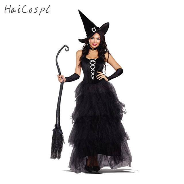 Halloween Witch Costume For Women Adult Sexy Magic Girl Cosplay Black Dress Festival Party Wear Disguise  sc 1 st  AliExpress.com & Halloween Witch Costume For Women Adult Sexy Magic Girl Cosplay ...