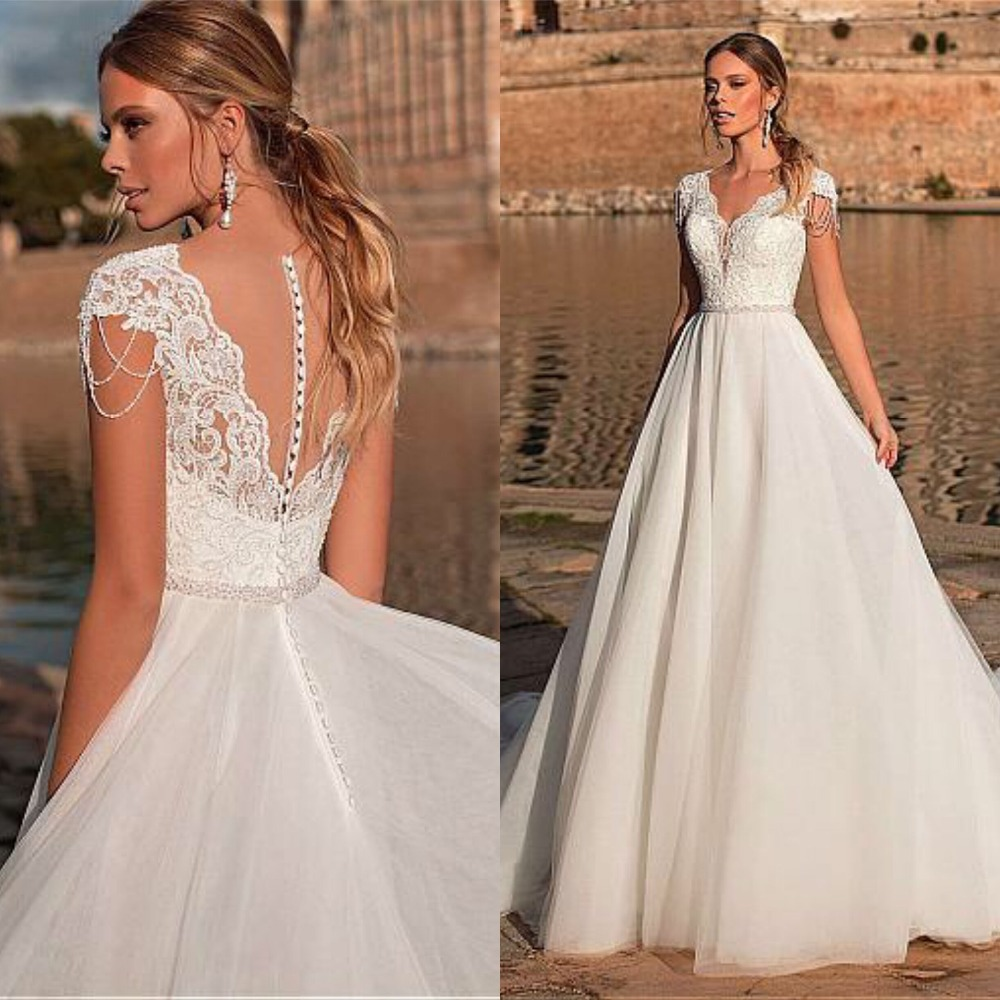 Graceful Tulle V neck Neckline A line Wedding Dress With Lace Appliques & Beadings Illusion Back Vestidos de novia Bridal Dress-in Wedding Dresses from Weddings & Events