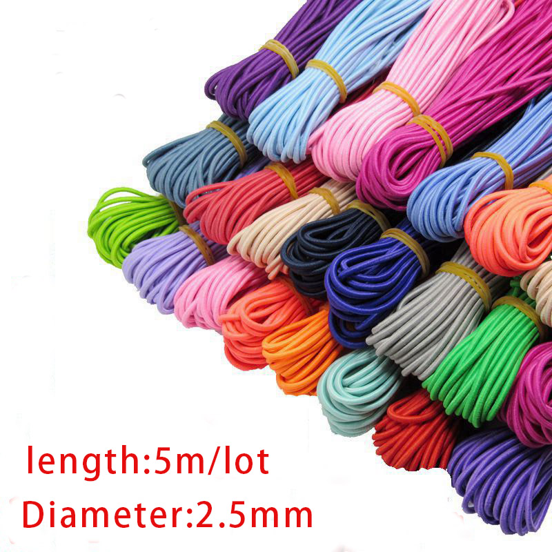 5 Meters Round Stretchy Elastic String Cord Colorful Elastic Rope Rubber Band Thread 2.5mm For DIY Clothes Sewing Accessories