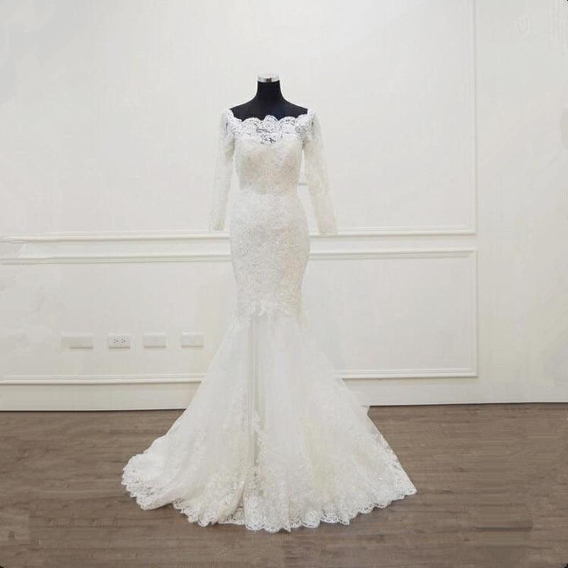 С длинным рукавом кружевные свадебные платья Русалка Тюль Свадебные платья невесты Weddingdress vestidos de noiva