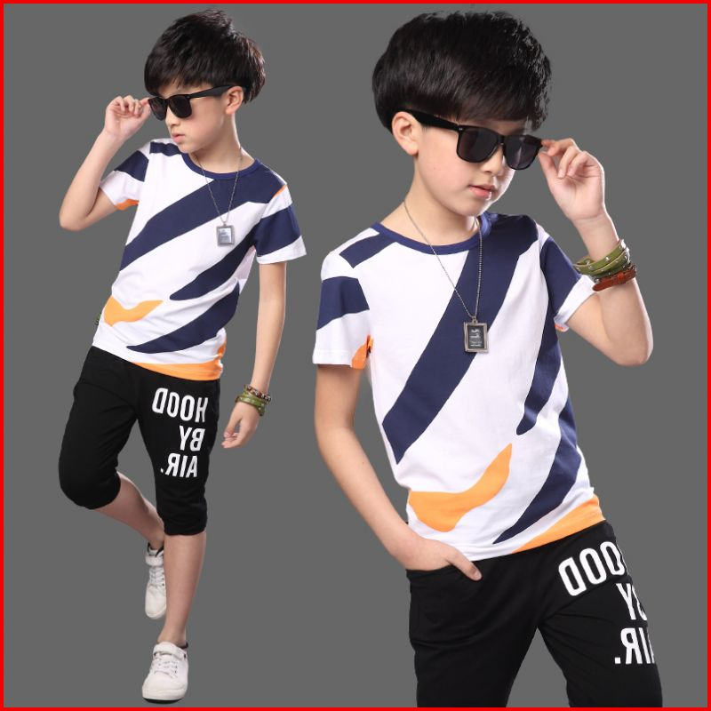 Childrens Sports Suit Big Boys Clothing Summer Set 2018 Teenage Striped Casual Short-Sleeve Tops Short Pants Twinset Brand Suit